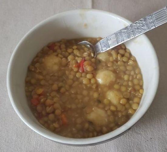 Caribbean Style Lentil Stew with Dumplings